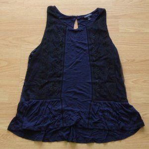 American Eagle Navy Mesh Embroidered Tank | Size M